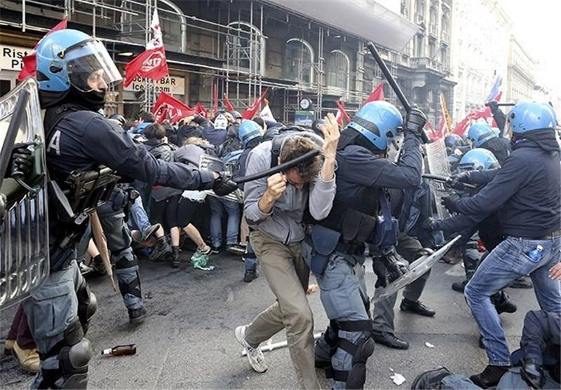 تظاهرات خشونت آمیز در ایتالیا دستکم 80 زخمی بر جای گذاشت