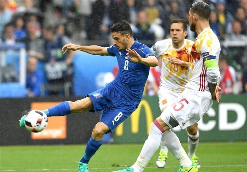 پیروزی ایتالیا و حذف اسپانیا به روایت تصویر